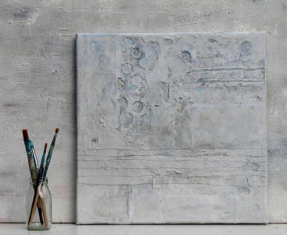 Abstrakte peinture structure, mixte, papier, peinture acrylique, peinture de la structure, art, peinture, collage, abstrait. Image abstraite sur toile 40 x 40 x 1, 5 cm Mes images sont créées avec les nombreux outils : par exemple : mastic, sable, café, Zewa, pigments, Pastelkreiden, coquilles doeufs, les graines de piment, sel bleu persan, Quark, papier journal, les dorures, peintures en aérosol, épices, plâtre, émaux, gomme laque, patine, pulvérisation de peinture, objets dart, papier de…