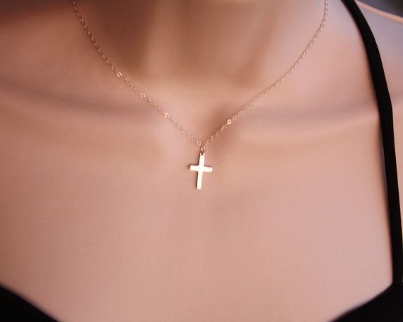 Cross Necklace in Sterling Silver  dainty simple by PTInspires, $29.00
