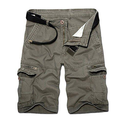 Guiran Hombres Bermuda Cortos Pantalones Vintage Militares Cargo Shorts  Pantalones Deporte Con Multi-Bolsillo Verde b5ba0316f1e6