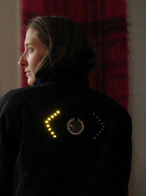 lilypad arduino - shirt with turn signals for biking (or walking!)