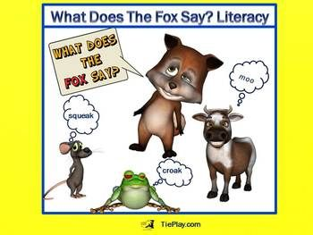 This What Does The Fox Say Literacy PowerPoint is fully animated and timed to the funny song by Ylvis, The Fox (with link provided to the website). This PPT can assist in teaching the concept of onomatopoeia with elementary school students in a way they will remember. http://www.teacherspayteachers.com/Product/What-Does-The-Fox-Say-A-Fully-Animated-PowerPoint-CCSS-Aligned-1157069