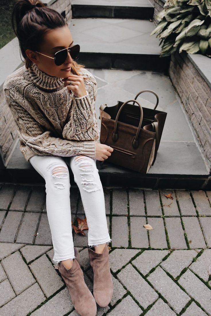 chunky knits, ripped white jeans, neutral suede booties