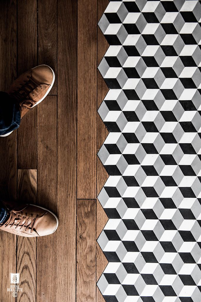 optical illusion tiles + wood floor
