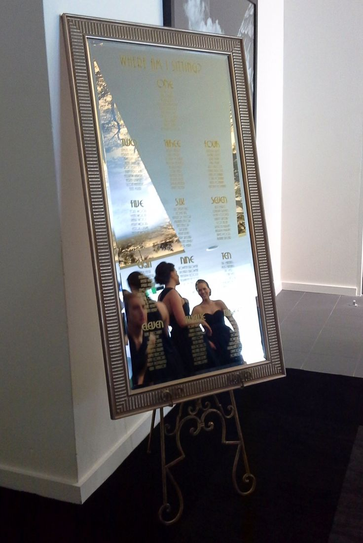 The seating chart printed on a gorgeous mirror... #ivyandmoss #seatingchart #whitewedding #wedding #mirror #bridesmaids