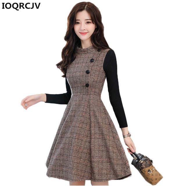 f0f90c91a0 Otoño Invierno vestido de las mujeres 2018 nueva moda a cuadros de lana  vestido de costura de gran tamaño manga larga Mujer Oficina vestido K825