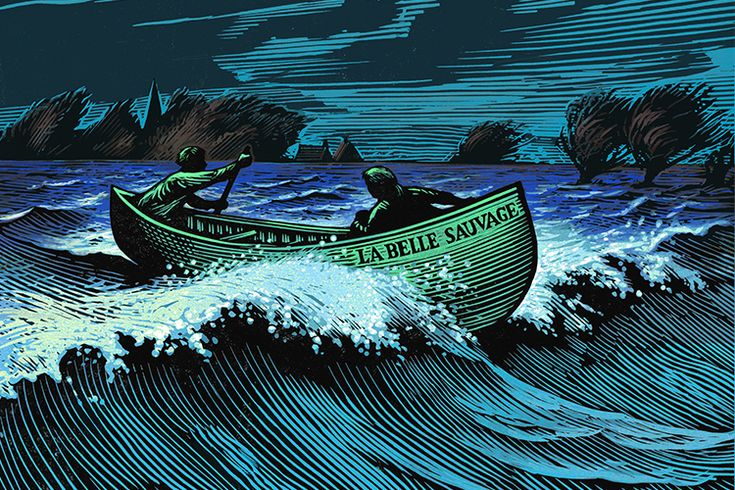 The cover for Philip Pullman's La Belle Sauvage, illustrated by Chris Wormell, who specialises in linocuts and wood engraving.