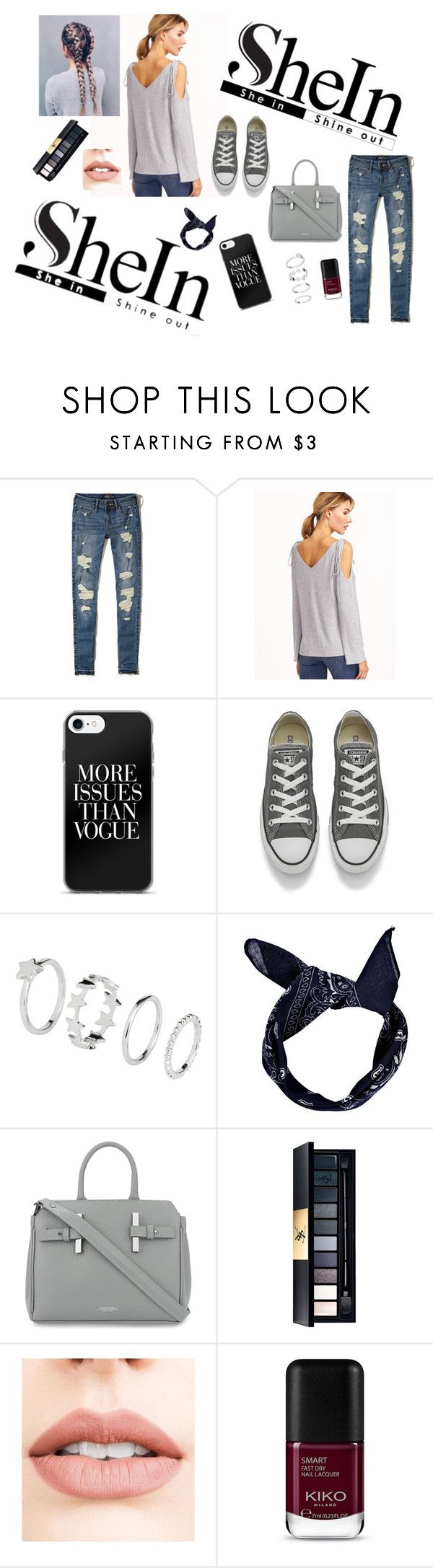 """""""Grey T-shirt"""" by dz-eminaa ❤ liked on Polyvore featuring Hollister Co., Converse, Boohoo, Estemporanea and Jouer"""
