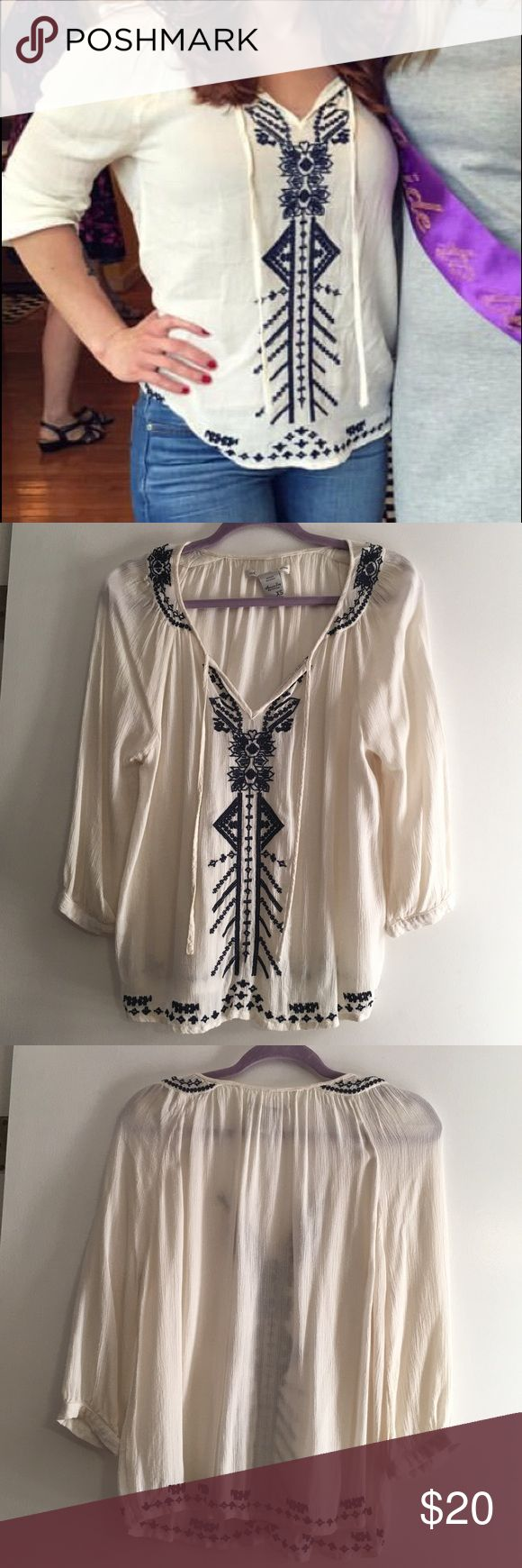 American Rag Bohemian Style Top Only worn once. Very comfortable!!! Cream color with navy blue embroidery. Comes from smoke free, pet free home. Shipping dates are Tuesday through Friday American Rag Tops Blouses