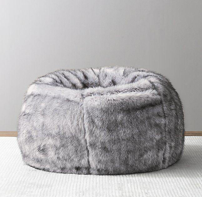 Luxe Faux Fur Bean Bag - Grey Wolf