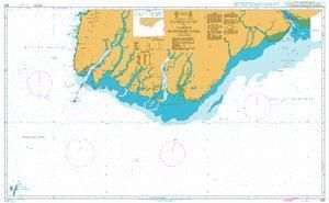 British Admiralty Nautical Chart 823: Pathein River to Yangon (Rangoon) River