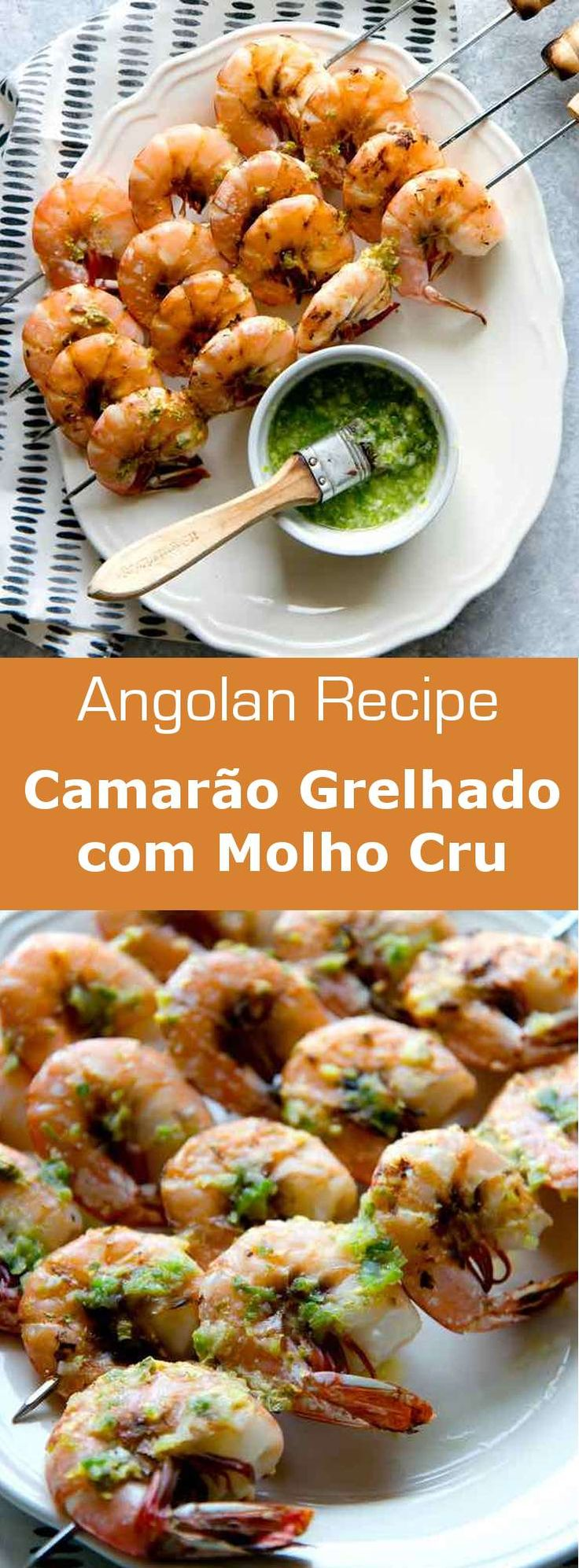 Camarão grelhado com molho cru is a grilled prawn dish from Angola prepared with a delicious marinade of scallions, garlic, cumin, and white wine vinegar. #Angola #AngolanCuisine #AfricanCuisine #WorldCuisine #196flavors