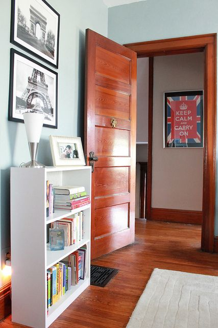 Great paint color ideas for a home with dark wood trim.