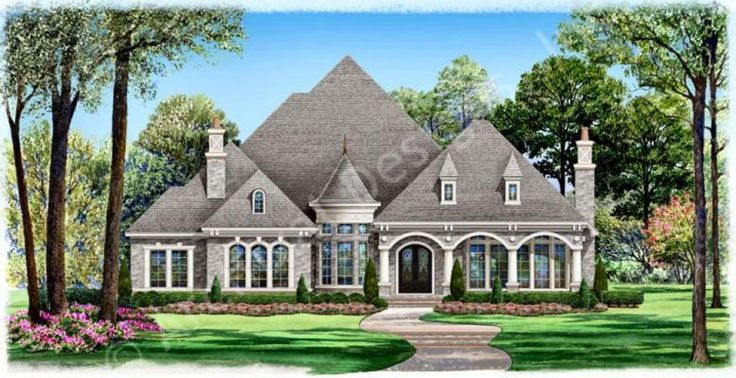 Gray Stone House Plan Front Rendering