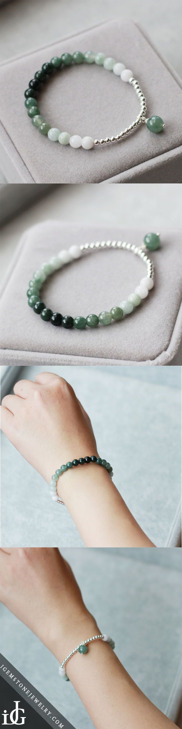 Green Jade Beaded Bracelet Handmade Gemstone Jewelry Accessories Gifts For Women – 16cm (suit for wrist size 14-15cm) – Accesories