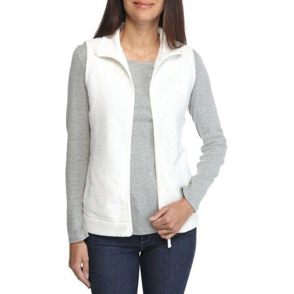 Kim Rogers  Solid Fleece Vest (395 MXN) ❤ liked on Polyvore featuring outerwear, vests, petite, white vest, lightweight vest, long sleeve vest, petite vests and lightweight fleece vest