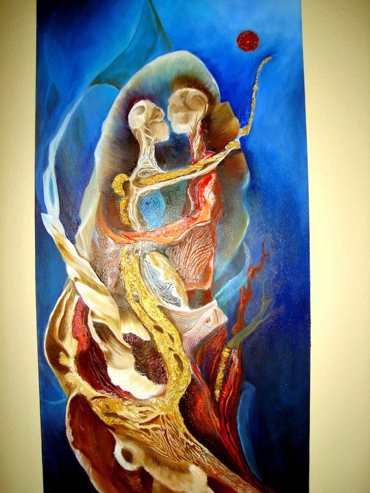 """""""The root of love """" 2011 Oil paint and mix technic 120 x 70 ( sold)"""