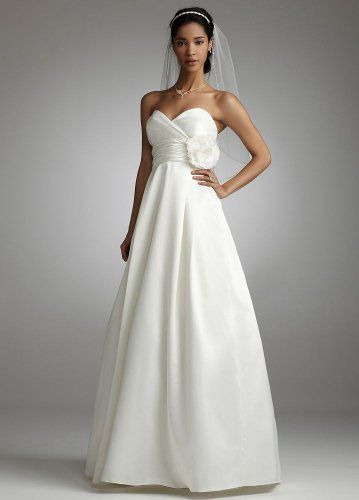 David's Bridal offer the best David's Bridal Wedding Dress: Satin A Line Gown with Empire Bodice Style EJ1M0143, Ivory, 2. This awesome product currently in stocks, you can get this Apparel now for only  $179.00.