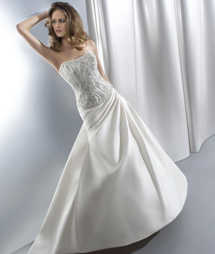 2016 Young Brides Wedding Dresses Demetrios Strapless Neckline Beaded Draped Taffeta Ball Gown Bridal Gowns with Basque Waist And Lace Up from Nicedressonline,$228.75 | DHgate.com