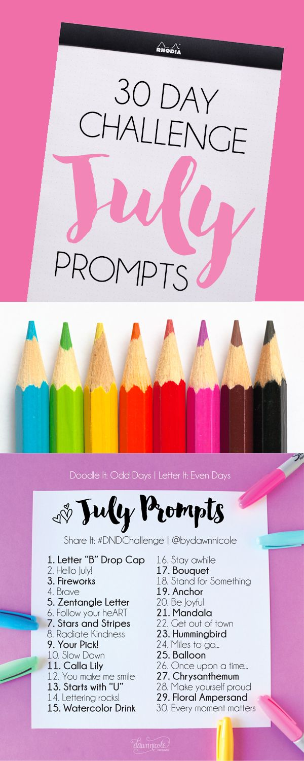 Art + Lettering Challenge July Prompts. Join these free 30 day challenges on Instagram to practice improve your art + lettering skills! | DawnNicoleDesigns.com