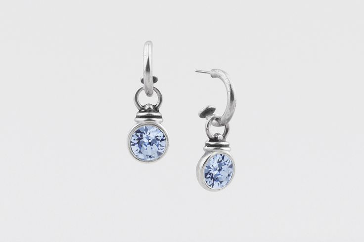 E2243 Medium burnished silver Pretty Woman #hoop #earrings worn with embellished E2731 light #sapphire #Swarovski #crystal Pretty Woman #charms - www.miglio.com