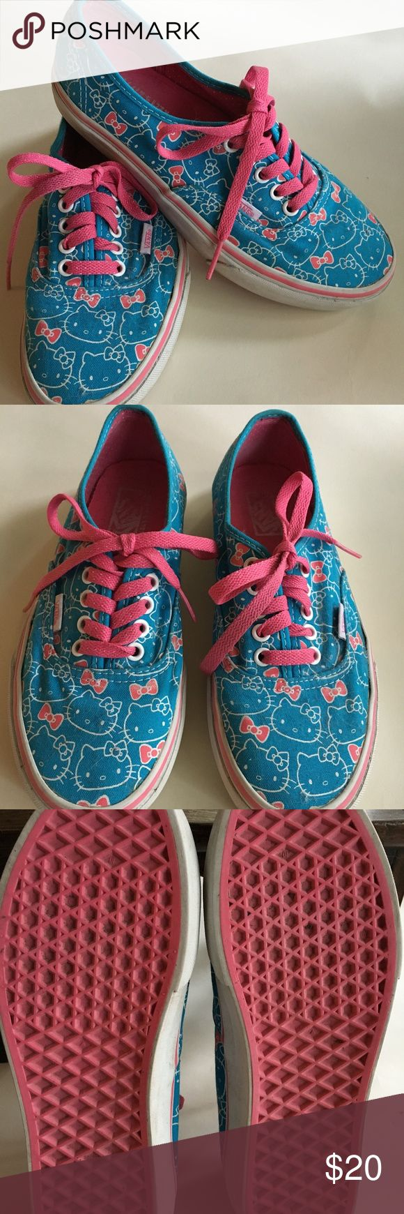 Pre-Owned VANS Hello Kitty Women Size 8 Vans Hello Kitty lace-up sneakers women's size 8.  Cute blue and pink hello kitty print. In good pre-owned condition. Vans Shoes Sneakers