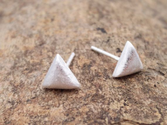 Geometric Triangle Brushed Finish Earrrings In by ShopZYLA on Etsy