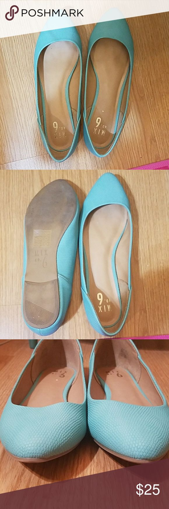 Mix No 6 turquoise flats. Worn twice. Comfortable flat. Turquoise with tan insole. Small scratch inside right shoe. (Scratched with fingernail when removing price tag) Mix No. 6 Shoes Flats & Loafers
