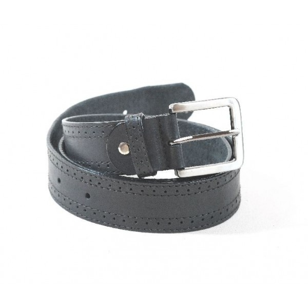 Leather belt decorated with two stitching rows and one perforation row in between, 40 mm width.