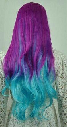 purple faded into blue curls!