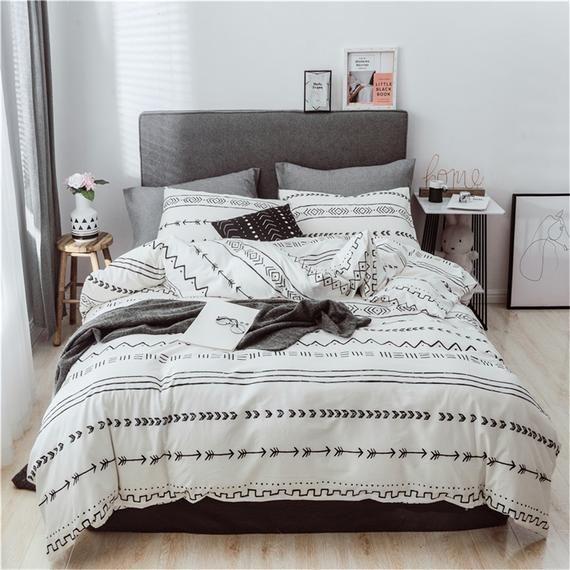 Bohemian White Cotton Duvet Cover Set Chevron Comfortable 100 Etsy In 2020 Geometric Bedding Duvet Cover Sets Print Bedding