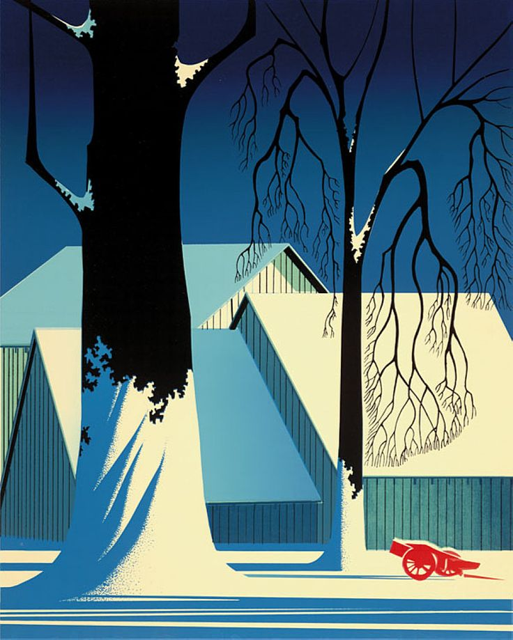 """Turquoise"" by Eyvind Earle.  Completion Date: 1983.  Place of Creation: United States.  Style: Magic Realism."
