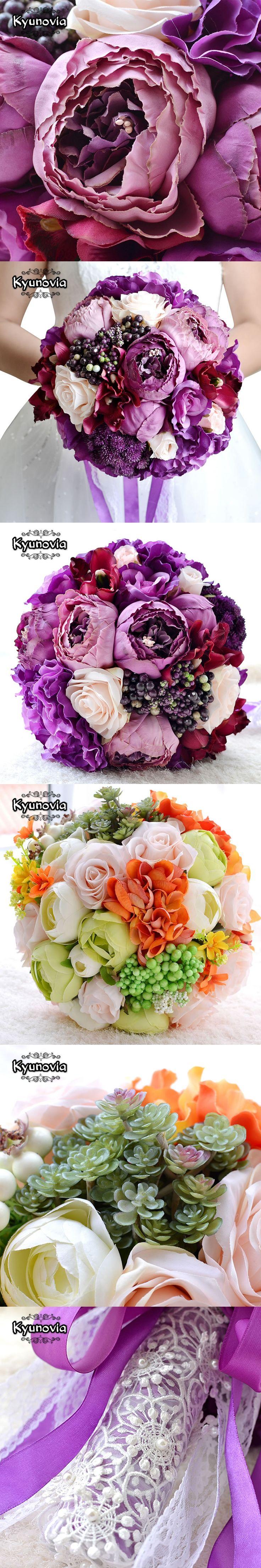 Kyunovia New Bridal Bouquet Assorted Roses Camellias wedding accessories bouquet Artifical Wedding flowers Wedding Bouquet FE13