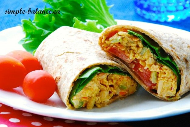 chickpea salad in homemade wrap