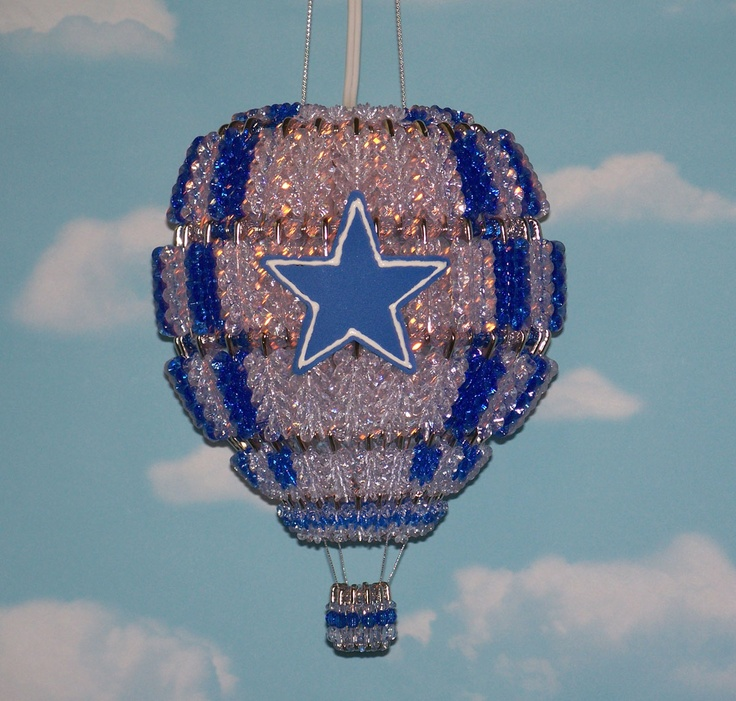 Hand Made Hot Air Balloon Lamp In Crystal And Royal Blue