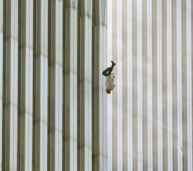 """Man Falling from the World Trade Center on 9/11. """"The Falling Man."""""""