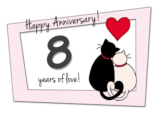 Happy 8th Wedding Anniversary Two Cats In Love Card Ad Ad Anniversary Wedding Happy 23rd Anniversary Happy 50th Anniversary 23rd Wedding Anniversary