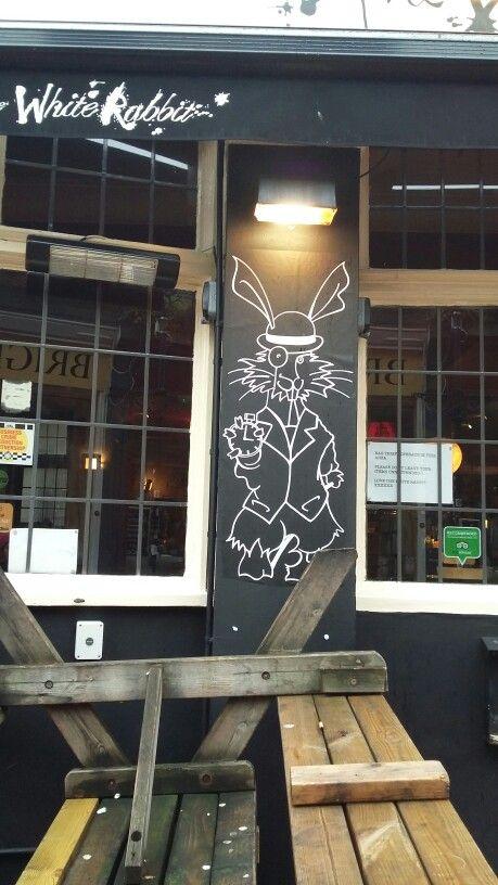 White rabbit Brighton - graffiti sign