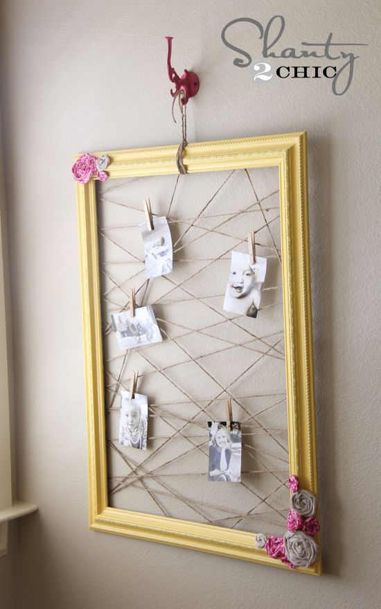 Memo Board: Frame, jute twine, paint, staple gun! Love this idea, do not like the flowers in the corners. :)