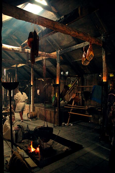 Taken at the Viking Festival on the Isle Of Man 2007. This was shot inside the larger of the wooden buildings constructed for the festival. Inside this house were a number of Viking decorations, nu...