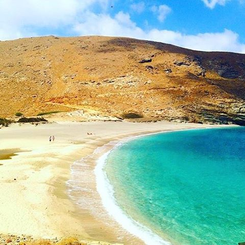 The exotic Achla beach , at Andros island (Άνδρος) . Splendid colors of the sea and fantastic crystal clear water ❤️. A big island with a lot of villages to explore and many beautiful beaches .