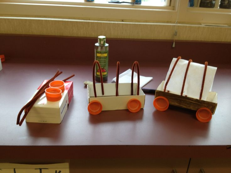 Learning about the pioneers and need a simple craft to tie in to your lesson?  Make a covered wagon from a check book box, bottle caps, pipe cleaners and fabric