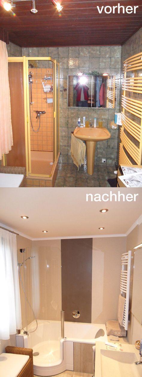 Aus einem alten, dunklen Bad mit Dusche wird mit der TWINLINE 1 Duschbadewanne und gekonnter sand- bzw. erdfarbener Gestaltung ein Wohlfühlbadezimmer