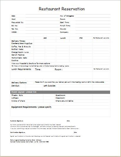 Restaurant Reservation Checklist DOWNLOAD at http://worddox.org/restaurant-reservation-template/