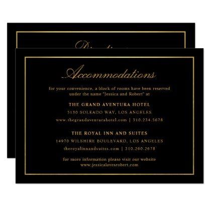 Elegant Script And Gold Border Accommodations 2 Enclosure