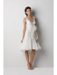Lace V-Neckline Embroidered Bodice Knee-Length Wedding Dress