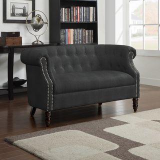 Portfolio Chesterfield Grey Velvet Loveseat | Overstock.com Shopping - The Best Deals on Sofas & Loveseats