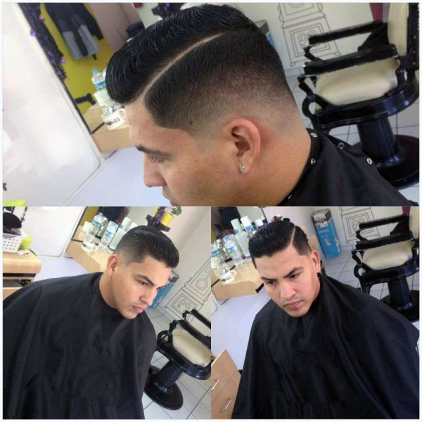 Strong Fade, with his hair slicked back | Men's Cuts ...