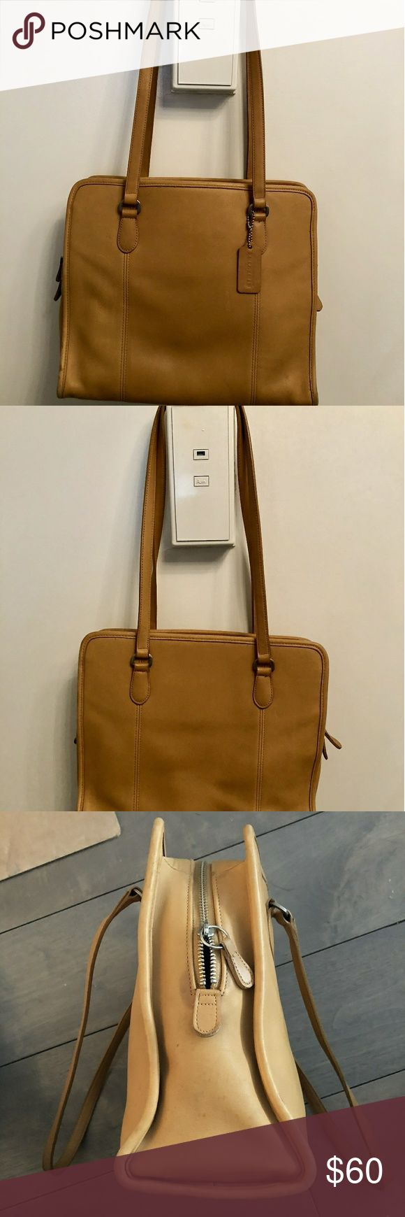 "VINTAGE COACH CLASSIC TAN TOTE! Vintage COACH Classic Tan Compartment Bag/Tote #9872   100% Authentic. Made in the USA! British Tan Leather. Zipper closure. One interior zipper pocket. Two sections. Original Coach hangtag. Measures: 9.5"" x 11.5"" x 4.5""/strap drop 12"". Bag is in great vintage condition. Normal light wear & tear to leather. Small pen mark(s) inside/ minor discolorations. Interior lining clean. Leather is supple and strong! Can fit ipad/ tablet plus more comfortably! Coach Bags"