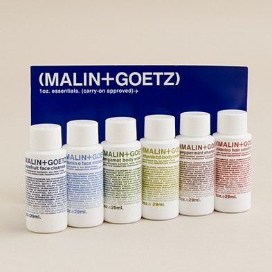 Malin & Goetz Travel Kit: Grapefruit face cleaner, vigamin e face moisturizer, bergamot body wash, vitamin B5 body moisturizer, peppermint shampoo, cilantro hair conditioner. TSA friendly. $30 #Travel_Kit #Malin_&_Goetz