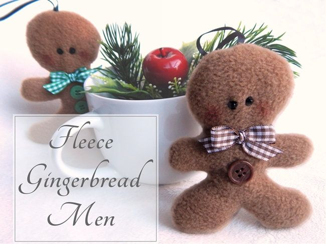 Gingerbread Men to sew from Fleece for the Holidays